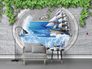 Tranh Dán Tường 3D Thuận Buồm Xuôi Gió VIETAD-1034
