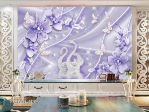 Tranh Dán Tường 3D Trang Sức Hoa Thiên Nga VIETAD-1103