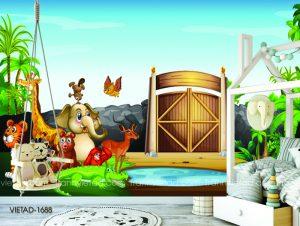 Tranh dán tường 3D vườn thú vui vẻ VIETAD-1688