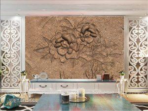 Tranh dán tường hoa mẫu đơn chạm khắc VIETAD-568
