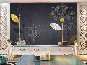 Tranh dán tường hoa trừu tượngTranh dán tường hoa trừu tượng VIETAD-569
