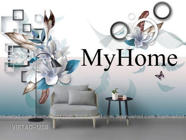 Tranh dán tường 3D hoa trang sức VIETAD-1208