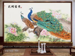 Tranh Dán Tường Chim Công Hoa Mẫu Đơn VIETAD-999