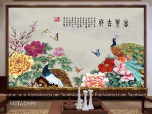 Tranh Dán Tường Hoa Mẫu Đơn Chim Công VIETAD-991