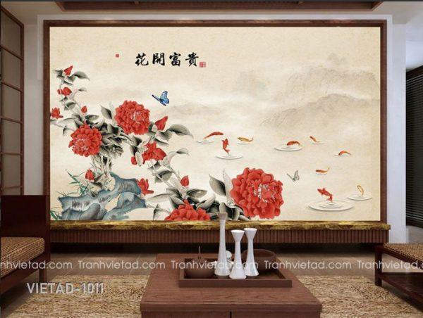 Tranh Dán Tường Hoa Mẫu Đơn Cửu Ngư VIETAD-1011