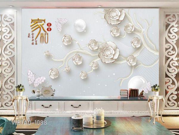 Tranh Dán Tường 3D Hoa VIETAD-1088