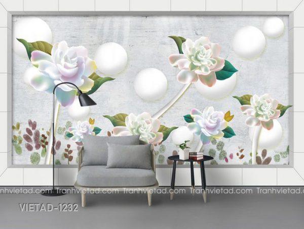 Tranh Dán Tường 3D Hoa VIETAD-1232