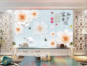 Tranh Dán Tường 3D Hoa VIETAD-1262