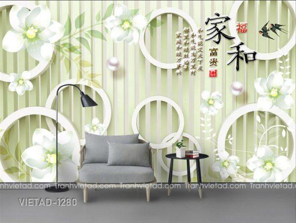 Tranh Dán Tường 3D Hoa VIETAD-1280