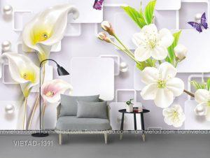 Tranh Dán Tường 3D Hoa VIETAD-1391