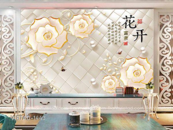 Tranh Dán Tường 3D Hoa VIETAD-1443