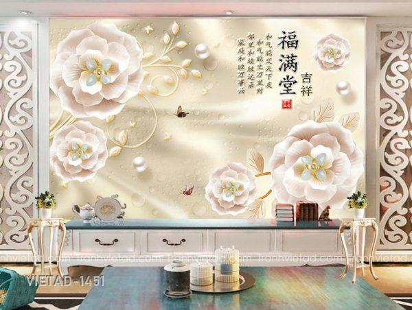 Tranh Dán Tường 3D Hoa VIETAD-1451