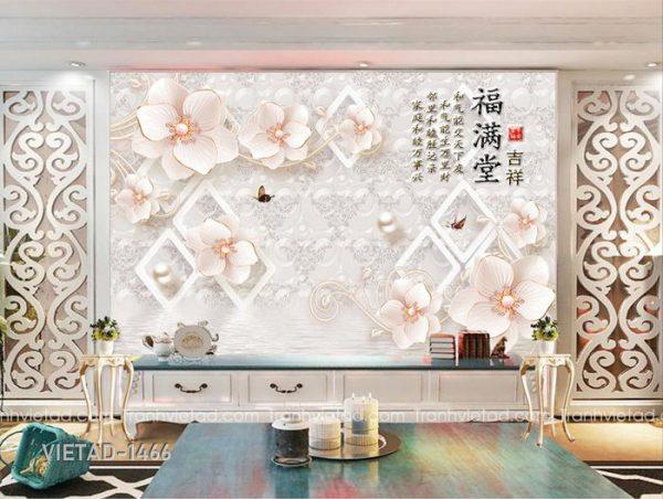 Tranh Dán Tường 3D Hoa VIETAD-1466