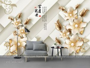 Tranh Dán Tường 3D Hoa VIETAD-1467
