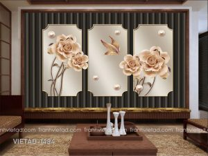 Tranh Dán Tường 3D Hoa VIETAD-1484