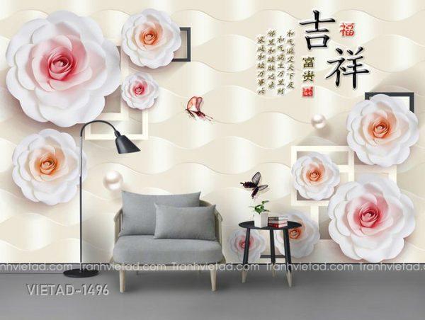 Tranh Dán Tường 3D Hoa VIETAD-1496