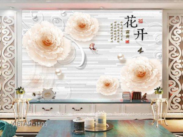 Tranh Dán Tường 3D Hoa VIETAD-1509