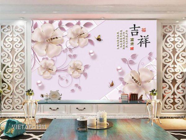 Tranh Dán Tường 3D Hoa VIETAD-1511