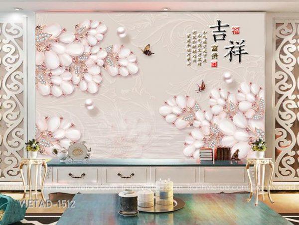 Tranh Dán Tường 3D Hoa VIETAD-1512