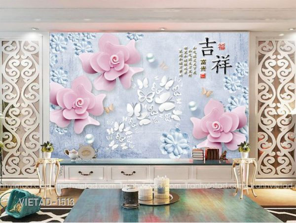 Tranh Dán Tường 3D Hoa VIETAD-1513