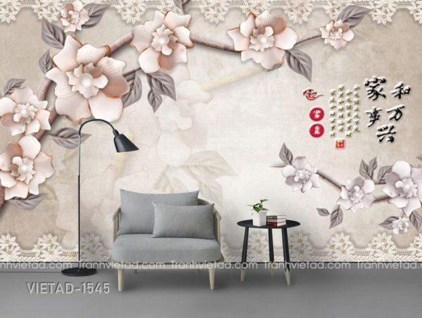 Tranh Dán Tường 3D Hoa VIETAD-1545