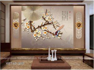 Tranh Dán Tường 3D Hoa VIETAD-1663