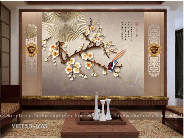 Tranh dan tuong 3d hoa VIETAD-1663