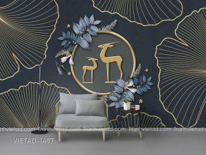 Tranh Dán Tường 3D Hươu Trừu Tượng VIETAD-1457