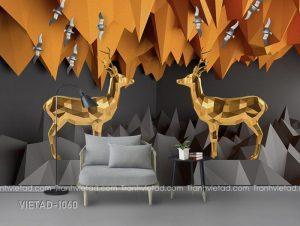 Tranh Dán Tường 3D Hươu Trừu Vàng VIETAD-1060