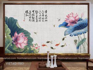Tranh Dán Tường Hoa Sen Cá Chép VIETAD-1183