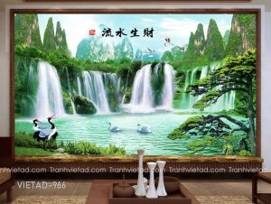 Tranh Dán Tường Sơn Thủy Cửu Ngư VIETAD-966